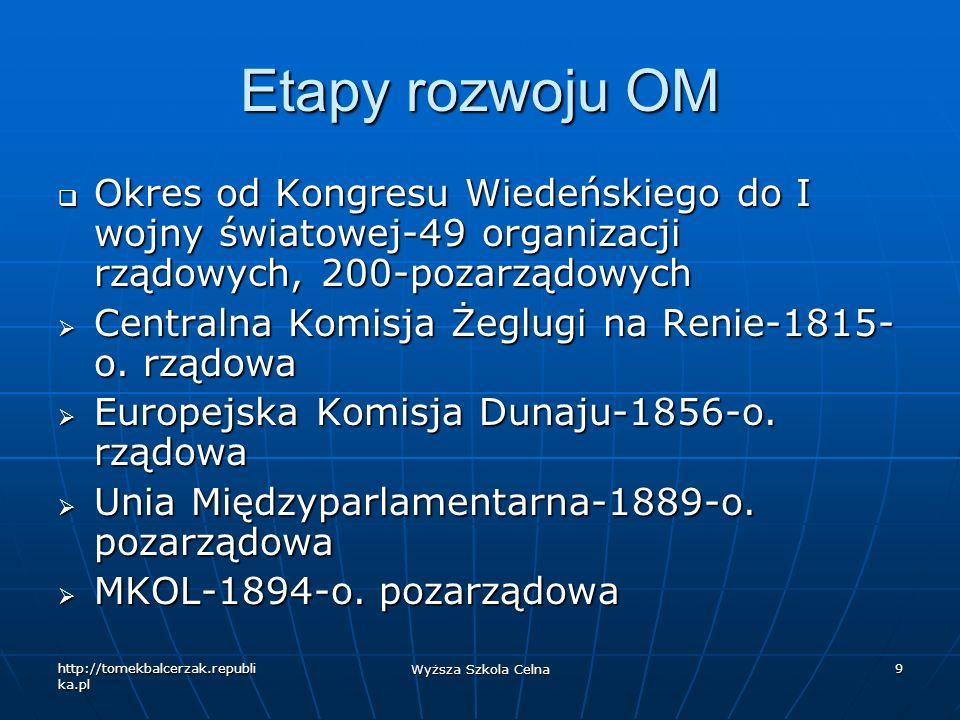 http://tomekbalcerzak.republi ka.pl Wyższa Szkola Celna 9 Etapy rozwoju OM Okres od Kongresu Wiedeńskiego do I wojny światowej-49 organizacji rządowyc