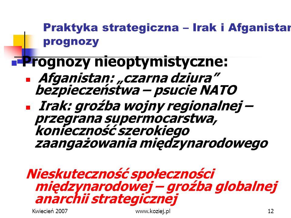 Kwiecień 2007www.koziej.pl12 Praktyka strategiczna – Irak i Afganistan: prognozy Prognozy nieoptymistyczne: Afganistan: czarna dziura bezpieczeństwa –