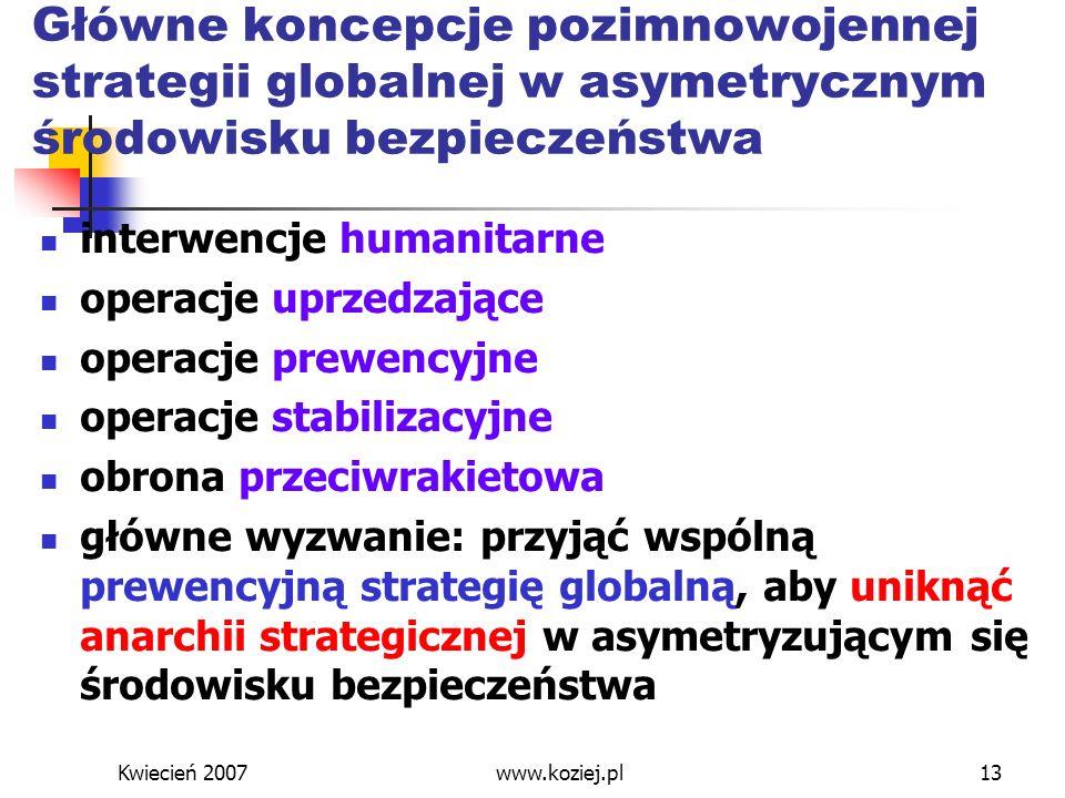 Kwiecień 2007www.koziej.pl13 Główne koncepcje pozimnowojennej strategii globalnej w asymetrycznym środowisku bezpieczeństwa interwencje humanitarne op