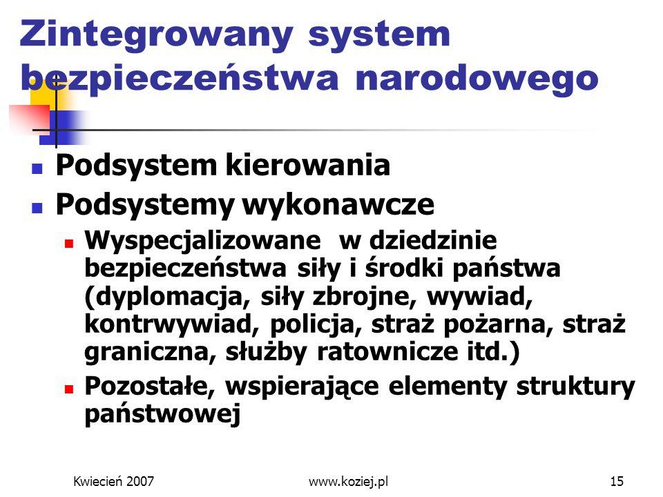 Kwiecień 2007www.koziej.pl15 Zintegrowany system bezpieczeństwa narodowego Podsystem kierowania Podsystemy wykonawcze Wyspecjalizowane w dziedzinie be