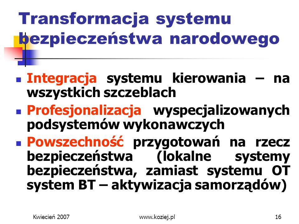 Kwiecień 2007www.koziej.pl16 Transformacja systemu bezpieczeństwa narodowego Integracja systemu kierowania – na wszystkich szczeblach Profesjonalizacj