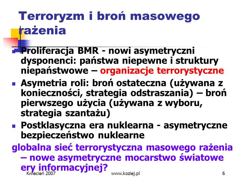 Kwiecień 2007www.koziej.pl17 Zakończenie Skrzyżowanie terroryzmu z BMR – główne zagrożenia asymetryczne Strategia wyprzedzania – odpowiedzią na asymetryczność zagrożeń Strategia globalna odpowiedzią na niebezpieczeństwo anarchii strategicznej Zintegrowany, profesjonalny i powszechny system bezpieczeństwa narodowego
