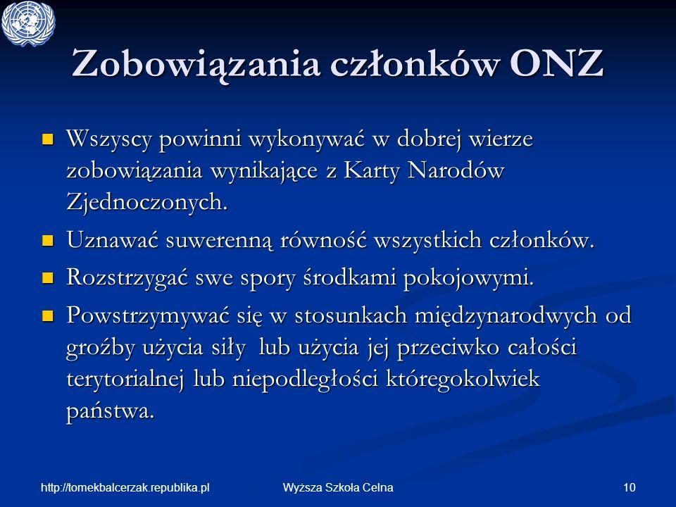 http://tomekbalcerzak.republika.pl 10Wyższa Szkoła Celna Zobowiązania członków ONZ Wszyscy powinni wykonywać w dobrej wierze zobowiązania wynikające z