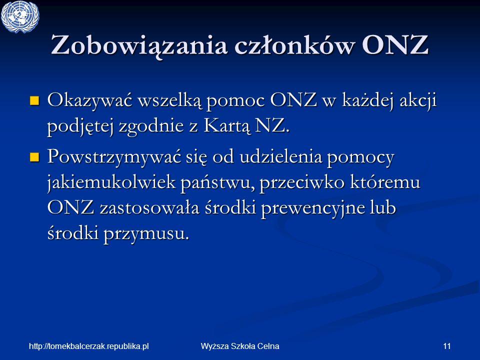 http://tomekbalcerzak.republika.pl 11Wyższa Szkoła Celna Zobowiązania członków ONZ Okazywać wszelką pomoc ONZ w każdej akcji podjętej zgodnie z Kartą