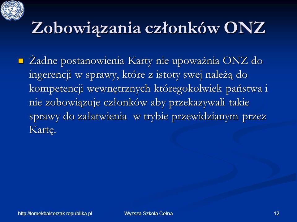 http://tomekbalcerzak.republika.pl 12Wyższa Szkoła Celna Zobowiązania członków ONZ Żadne postanowienia Karty nie upoważnia ONZ do ingerencji w sprawy,