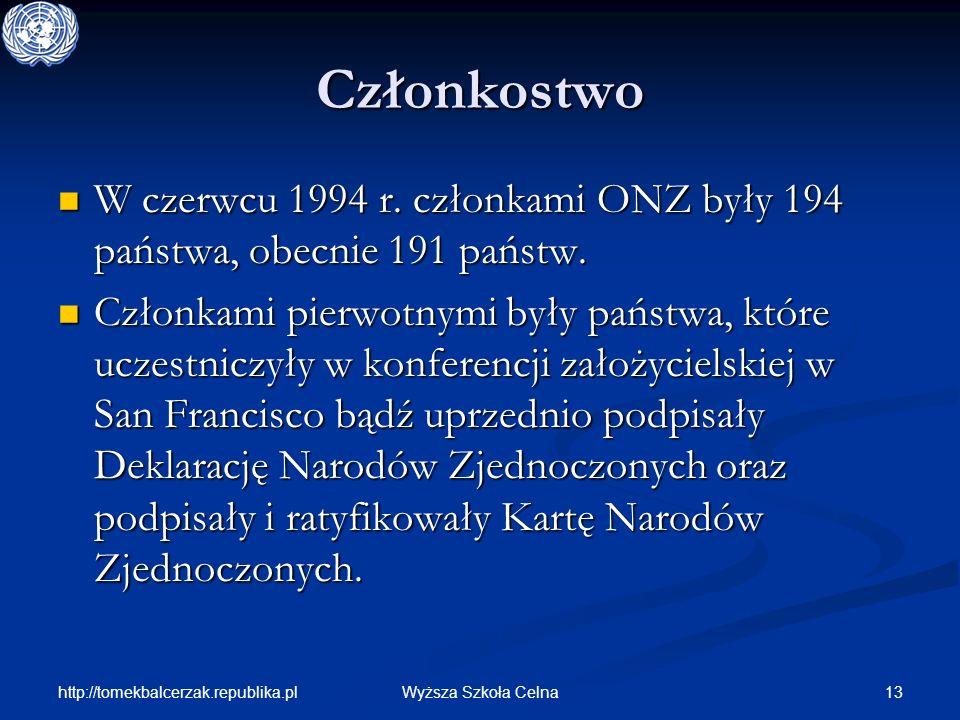 http://tomekbalcerzak.republika.pl 13Wyższa Szkoła Celna Członkostwo W czerwcu 1994 r. członkami ONZ były 194 państwa, obecnie 191 państw. W czerwcu 1