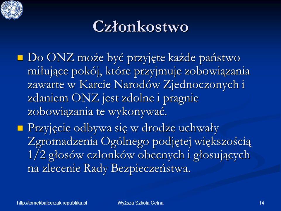 http://tomekbalcerzak.republika.pl 14Wyższa Szkoła Celna Członkostwo Do ONZ może być przyjęte każde państwo miłujące pokój, które przyjmuje zobowiązan