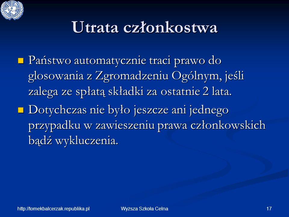 http://tomekbalcerzak.republika.pl 17Wyższa Szkoła Celna Utrata członkostwa Państwo automatycznie traci prawo do glosowania z Zgromadzeniu Ogólnym, je