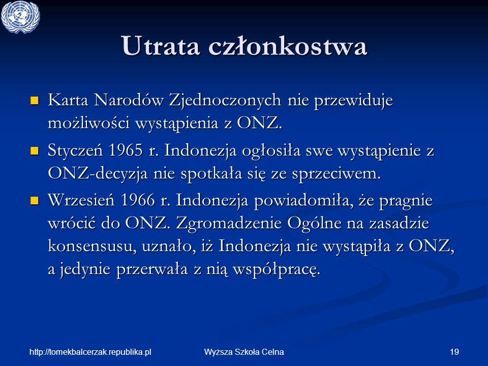 http://tomekbalcerzak.republika.pl 19Wyższa Szkoła Celna Utrata członkostwa Karta Narodów Zjednoczonych nie przewiduje możliwości wystąpienia z ONZ. K