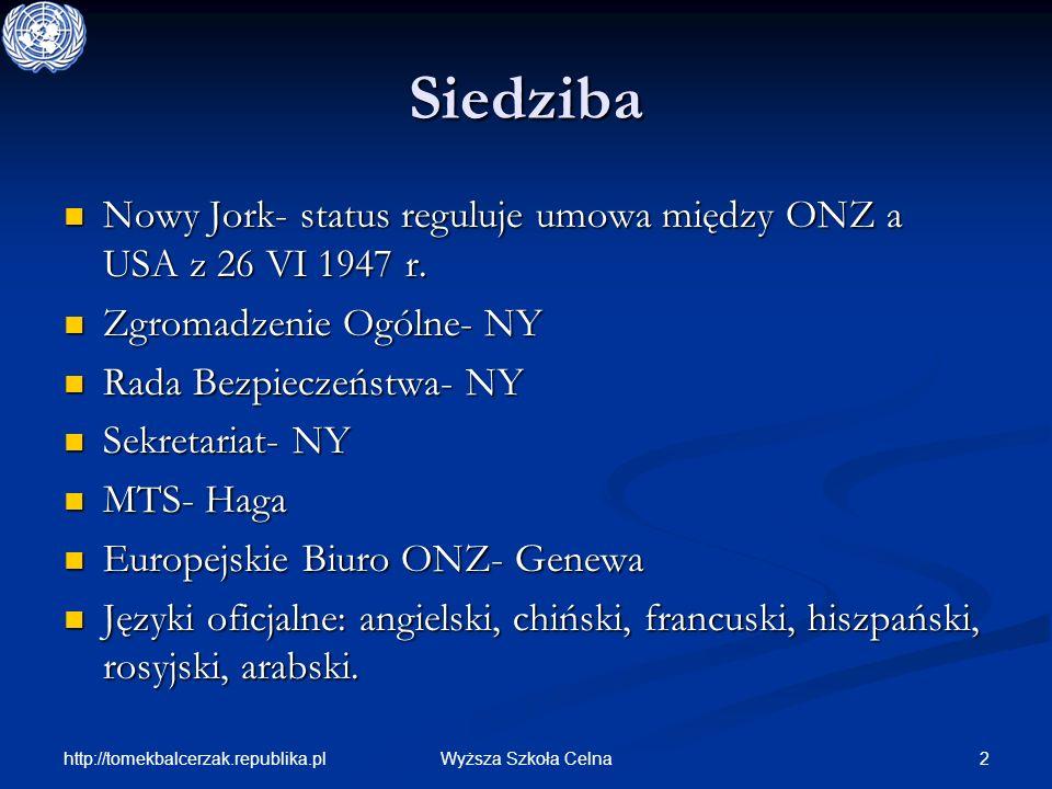 http://tomekbalcerzak.republika.pl 2Wyższa Szkoła Celna Siedziba Nowy Jork- status reguluje umowa między ONZ a USA z 26 VI 1947 r. Nowy Jork- status r