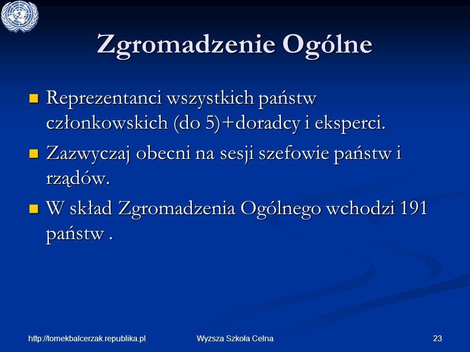 http://tomekbalcerzak.republika.pl 23Wyższa Szkoła Celna Zgromadzenie Ogólne Reprezentanci wszystkich państw członkowskich (do 5)+doradcy i eksperci.