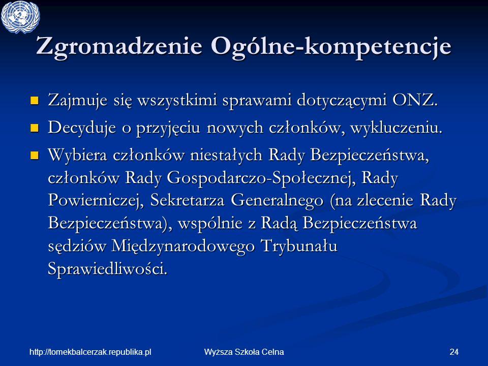 http://tomekbalcerzak.republika.pl 24Wyższa Szkoła Celna Zgromadzenie Ogólne-kompetencje Zajmuje się wszystkimi sprawami dotyczącymi ONZ. Zajmuje się