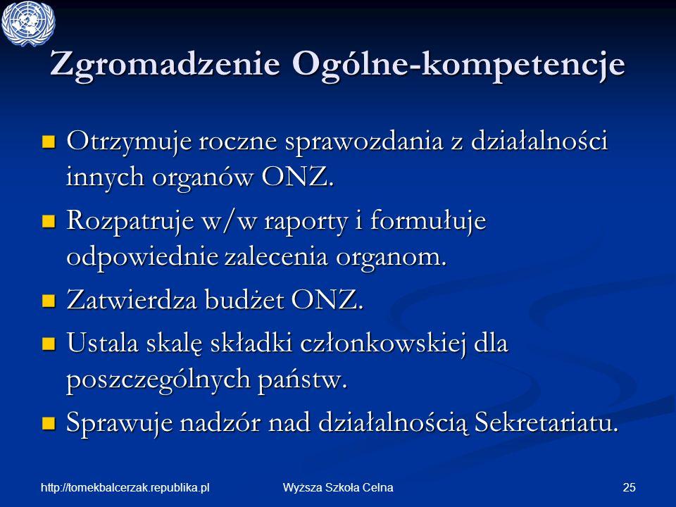 http://tomekbalcerzak.republika.pl 25Wyższa Szkoła Celna Zgromadzenie Ogólne-kompetencje Otrzymuje roczne sprawozdania z działalności innych organów O