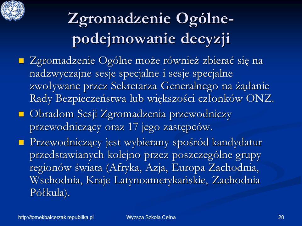 http://tomekbalcerzak.republika.pl 28Wyższa Szkoła Celna Zgromadzenie Ogólne- podejmowanie decyzji Zgromadzenie Ogólne może również zbierać się na nad