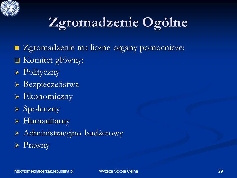 http://tomekbalcerzak.republika.pl 29Wyższa Szkoła Celna Zgromadzenie Ogólne Zgromadzenie ma liczne organy pomocnicze: Zgromadzenie ma liczne organy p