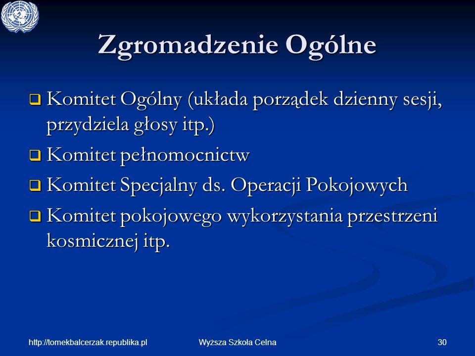 http://tomekbalcerzak.republika.pl 30Wyższa Szkoła Celna Zgromadzenie Ogólne Komitet Ogólny (układa porządek dzienny sesji, przydziela głosy itp.) Kom