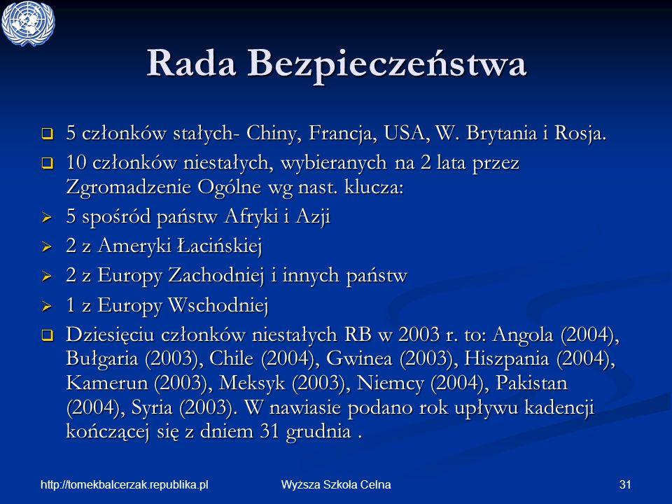 http://tomekbalcerzak.republika.pl 31Wyższa Szkoła Celna Rada Bezpieczeństwa 5 członków stałych- Chiny, Francja, USA, W. Brytania i Rosja. 5 członków