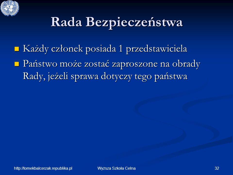http://tomekbalcerzak.republika.pl 32Wyższa Szkoła Celna Rada Bezpieczeństwa Każdy członek posiada 1 przedstawiciela Każdy członek posiada 1 przedstaw
