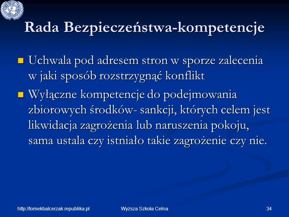 http://tomekbalcerzak.republika.pl 34Wyższa Szkoła Celna Rada Bezpieczeństwa-kompetencje Uchwala pod adresem stron w sporze zalecenia w jaki sposób ro