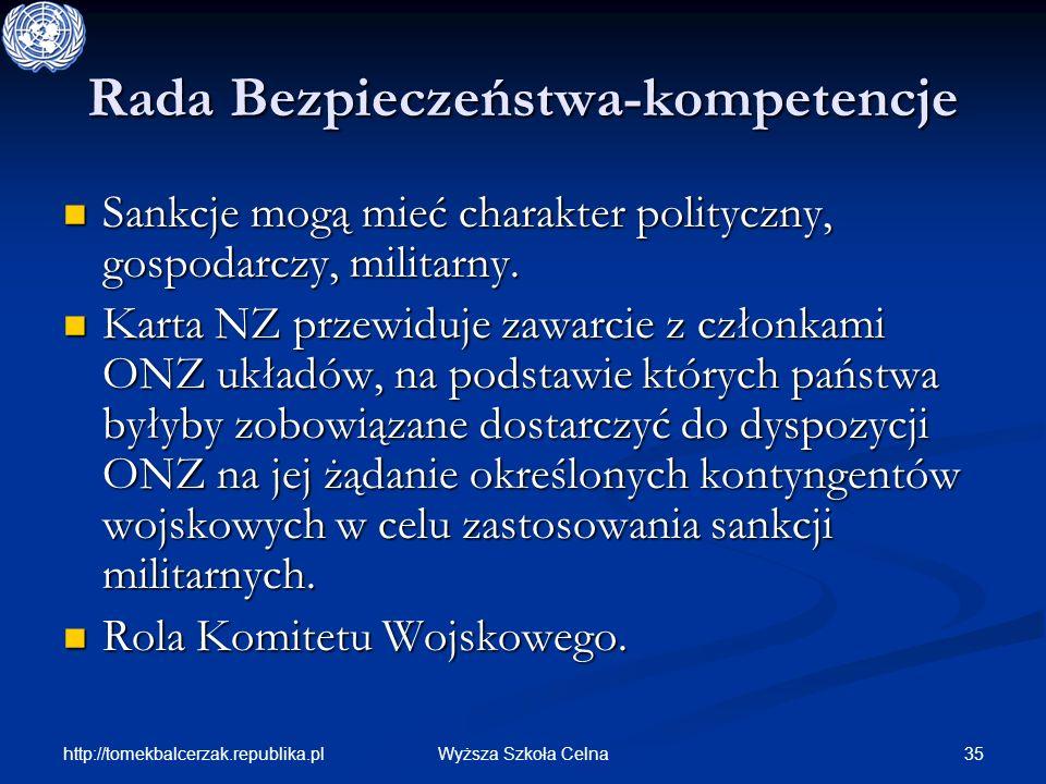 http://tomekbalcerzak.republika.pl 35Wyższa Szkoła Celna Rada Bezpieczeństwa-kompetencje Sankcje mogą mieć charakter polityczny, gospodarczy, militarn