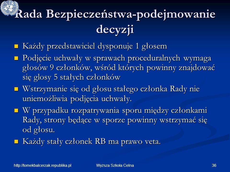 http://tomekbalcerzak.republika.pl 36Wyższa Szkoła Celna Rada Bezpieczeństwa-podejmowanie decyzji Każdy przedstawiciel dysponuje 1 głosem Każdy przeds