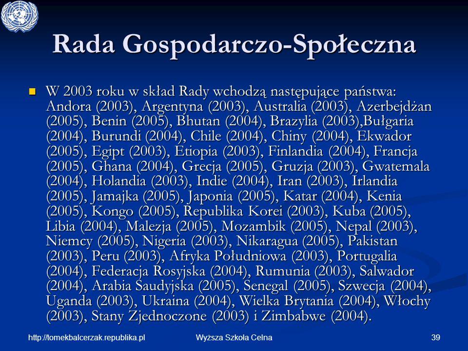 http://tomekbalcerzak.republika.pl 39Wyższa Szkoła Celna Rada Gospodarczo-Społeczna W 2003 roku w skład Rady wchodzą następujące państwa: Andora (2003