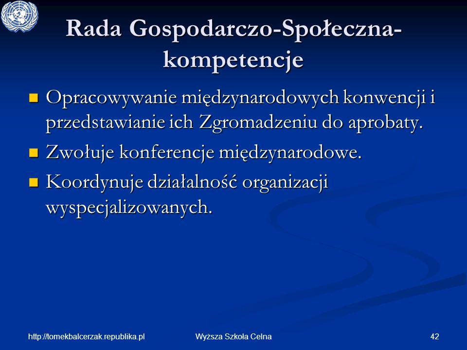 http://tomekbalcerzak.republika.pl 42Wyższa Szkoła Celna Rada Gospodarczo-Społeczna- kompetencje Opracowywanie międzynarodowych konwencji i przedstawi