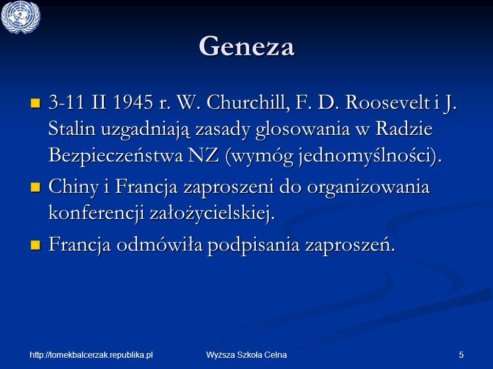 http://tomekbalcerzak.republika.pl 5Wyższa Szkoła Celna Geneza 3-11 II 1945 r. W. Churchill, F. D. Roosevelt i J. Stalin uzgadniają zasady glosowania