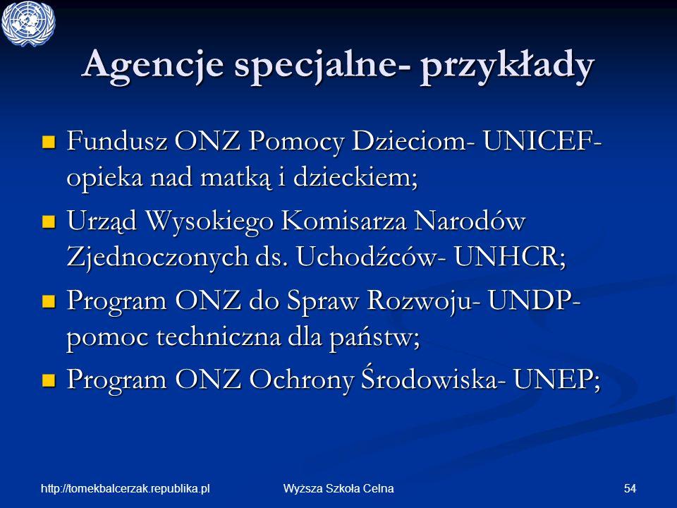 http://tomekbalcerzak.republika.pl 54Wyższa Szkoła Celna Agencje specjalne- przykłady Fundusz ONZ Pomocy Dzieciom- UNICEF- opieka nad matką i dzieckie