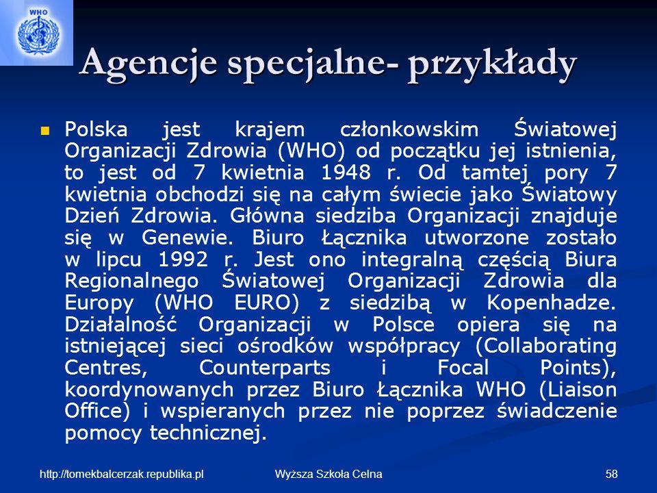 http://tomekbalcerzak.republika.pl 58Wyższa Szkoła Celna Agencje specjalne- przykłady Polska jest krajem członkowskim Światowej Organizacji Zdrowia (W