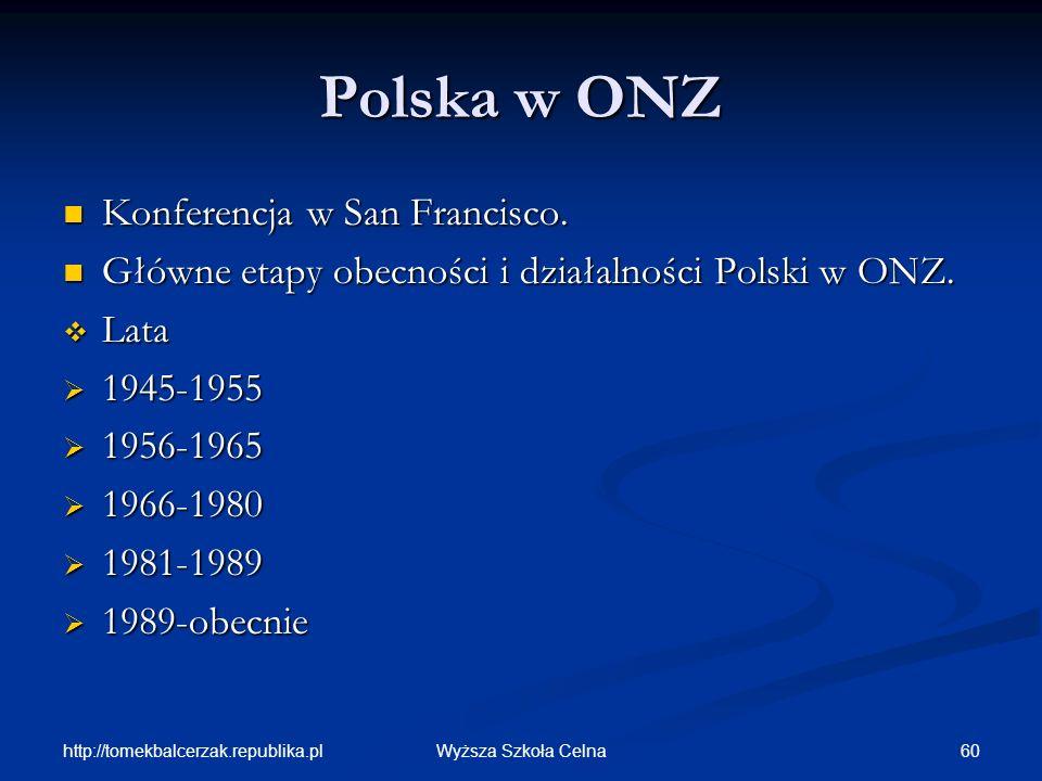 http://tomekbalcerzak.republika.pl 60Wyższa Szkoła Celna Polska w ONZ Konferencja w San Francisco. Konferencja w San Francisco. Główne etapy obecności