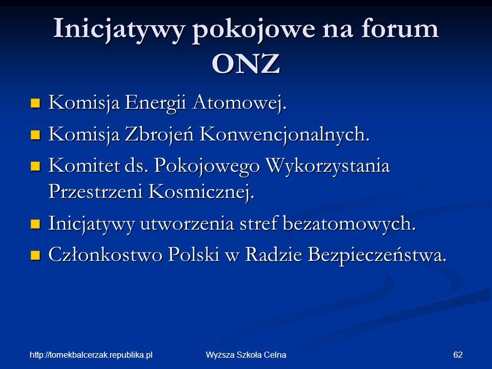 http://tomekbalcerzak.republika.pl 62Wyższa Szkoła Celna Inicjatywy pokojowe na forum ONZ Komisja Energii Atomowej. Komisja Energii Atomowej. Komisja