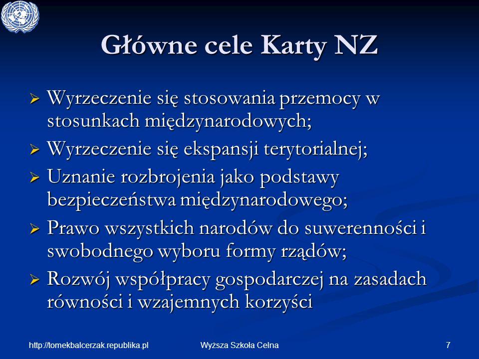 http://tomekbalcerzak.republika.pl 7Wyższa Szkoła Celna Główne cele Karty NZ Wyrzeczenie się stosowania przemocy w stosunkach międzynarodowych; Wyrzec