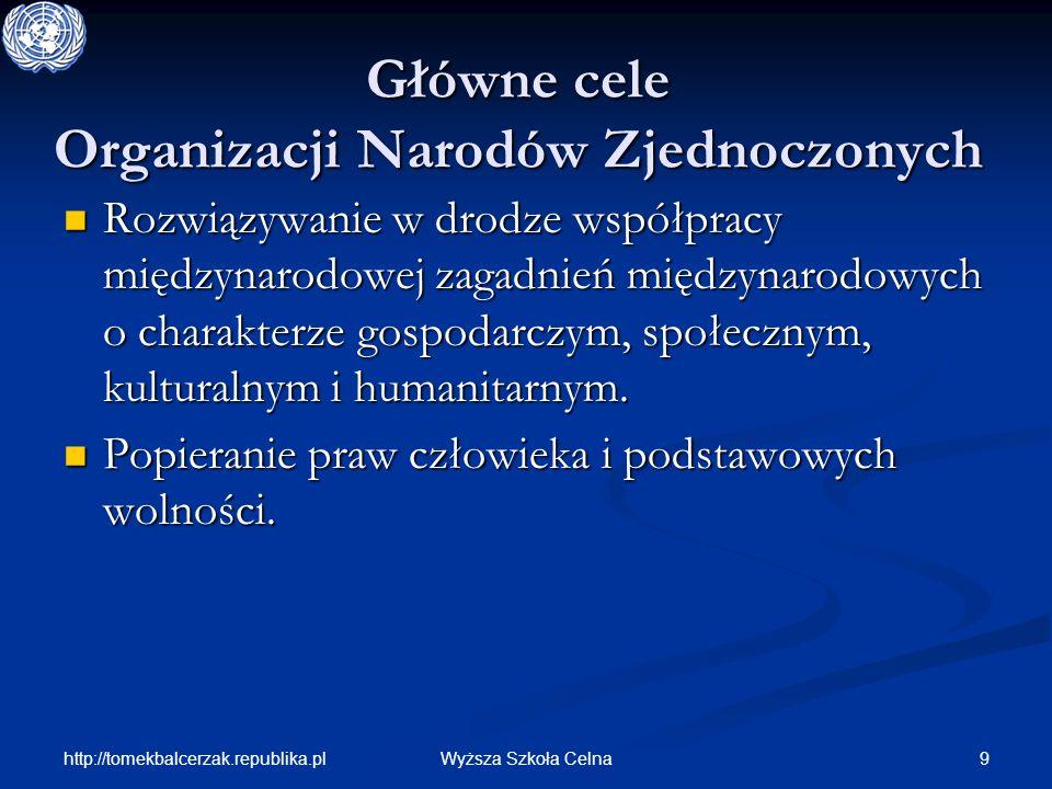 http://tomekbalcerzak.republika.pl 9Wyższa Szkoła Celna Główne cele Organizacji Narodów Zjednoczonych Rozwiązywanie w drodze współpracy międzynarodowe
