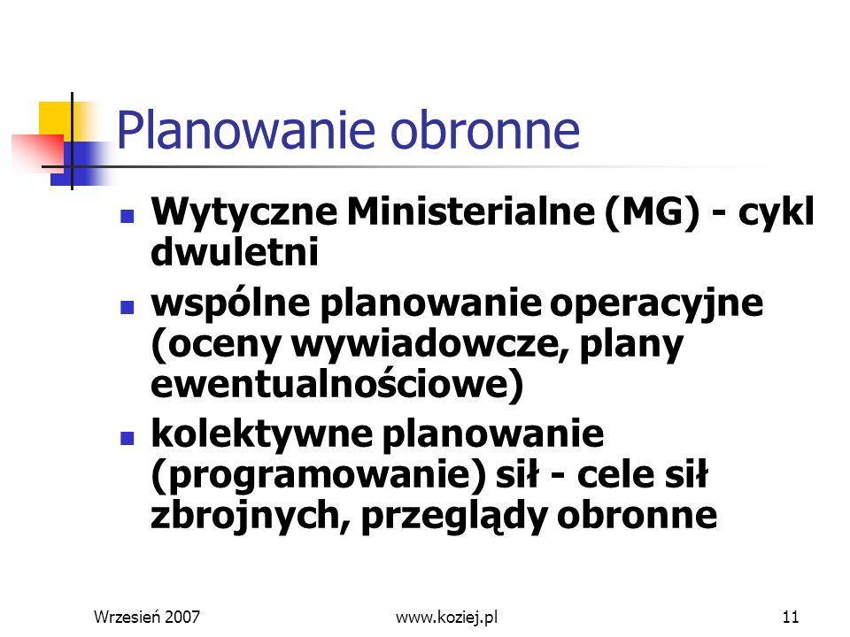 Wrzesień 200711 Planowanie obronne Wytyczne Ministerialne (MG) - cykl dwuletni wspólne planowanie operacyjne (oceny wywiadowcze, plany ewentualnościow