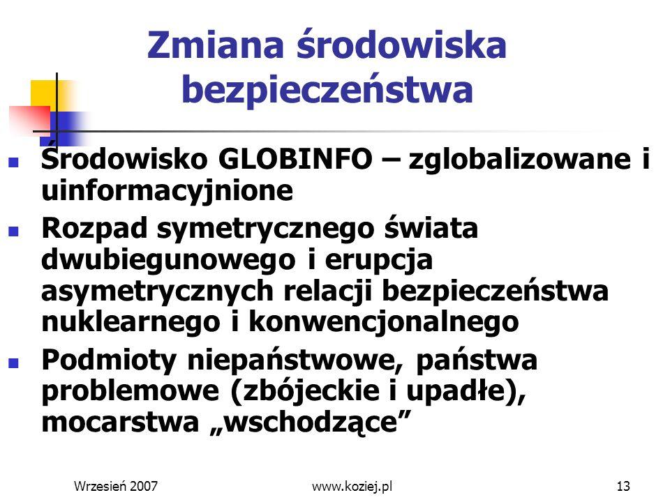 Wrzesień 200713 Zmiana środowiska bezpieczeństwa Środowisko GLOBINFO – zglobalizowane i uinformacyjnione Rozpad symetrycznego świata dwubiegunowego i