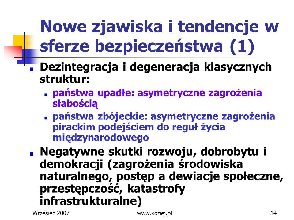 Wrzesień 200714 Nowe zjawiska i tendencje w sferze bezpieczeństwa (1) Dezintegracja i degeneracja klasycznych struktur: państwa upadłe: asymetryczne z