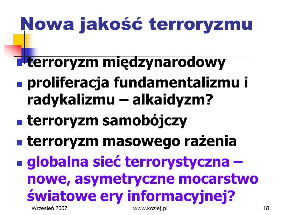 Wrzesień 200718 Nowa jakość terroryzmu terroryzm międzynarodowy proliferacja fundamentalizmu i radykalizmu – alkaidyzm? terroryzm samobójczy terroryzm