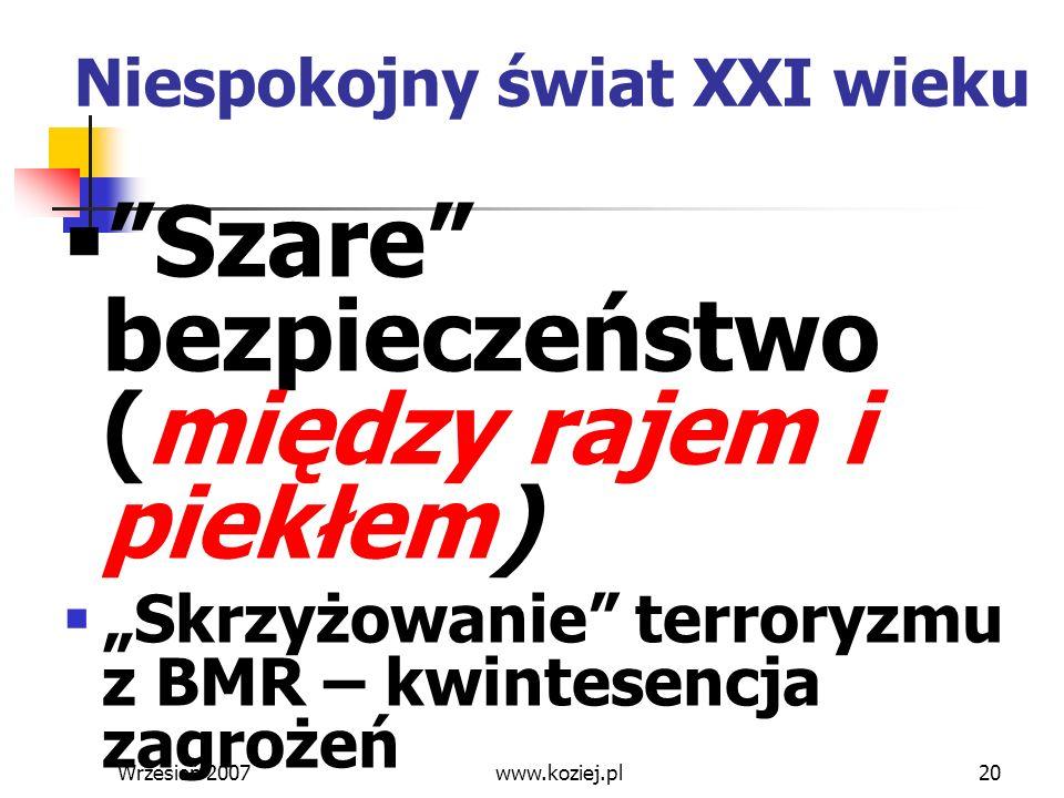 Wrzesień 200720 Niespokojny świat XXI wieku Szare bezpieczeństwo (między rajem i piekłem) Skrzyżowanie terroryzmu z BMR – kwintesencja zagrożeń www.ko
