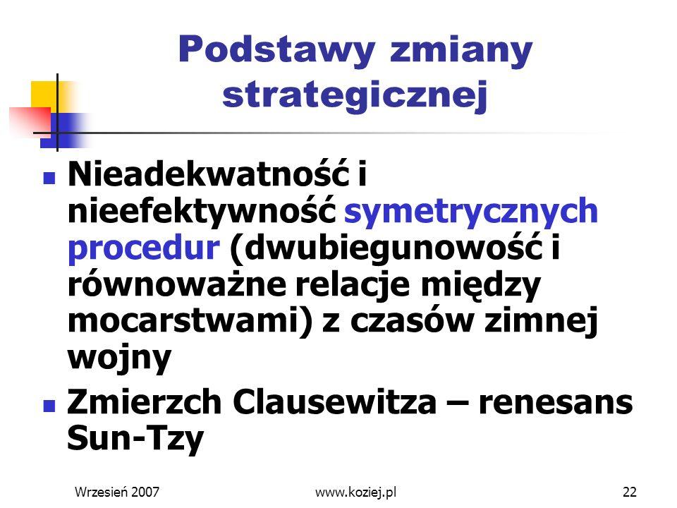 Wrzesień 200722 Podstawy zmiany strategicznej Nieadekwatność i nieefektywność symetrycznych procedur (dwubiegunowość i równoważne relacje między mocar