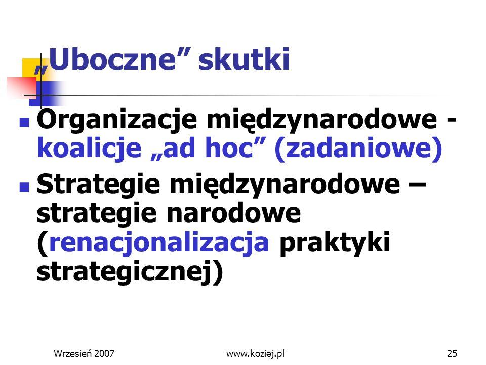 Wrzesień 200725 Uboczne skutki Organizacje międzynarodowe - koalicje ad hoc (zadaniowe) Strategie międzynarodowe – strategie narodowe (renacjonalizacj