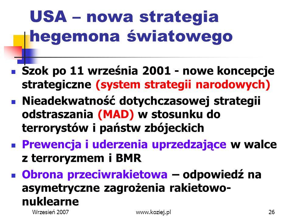 Wrzesień 200726 USA – nowa strategia hegemona światowego Szok po 11 września 2001 - nowe koncepcje strategiczne (system strategii narodowych) Nieadekw