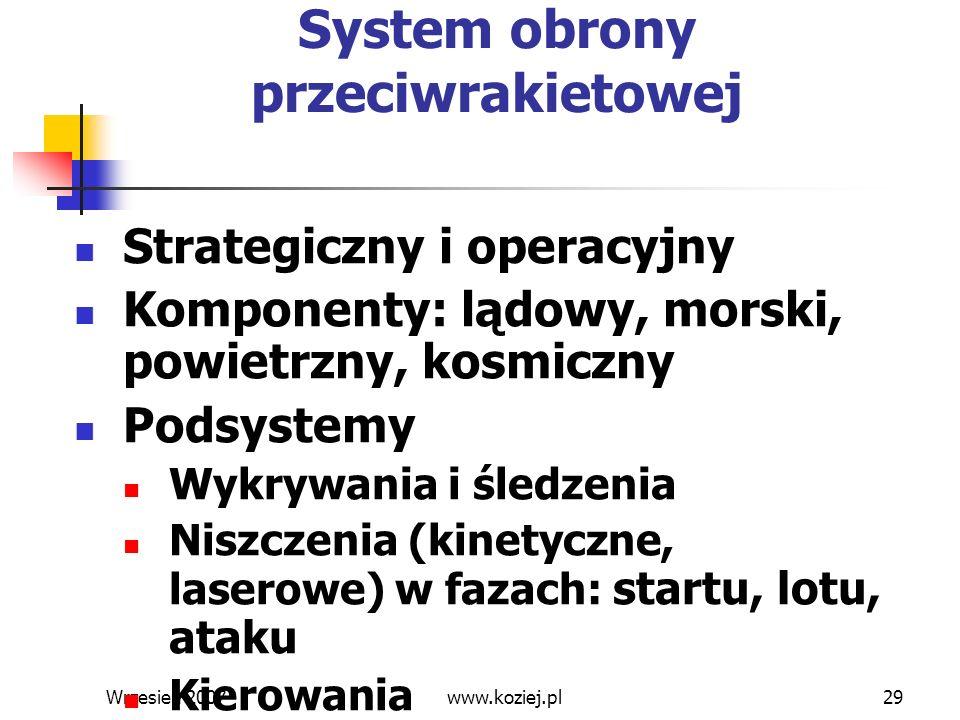 Wrzesień 200729 System obrony przeciwrakietowej Strategiczny i operacyjny Komponenty: lądowy, morski, powietrzny, kosmiczny Podsystemy Wykrywania i śl