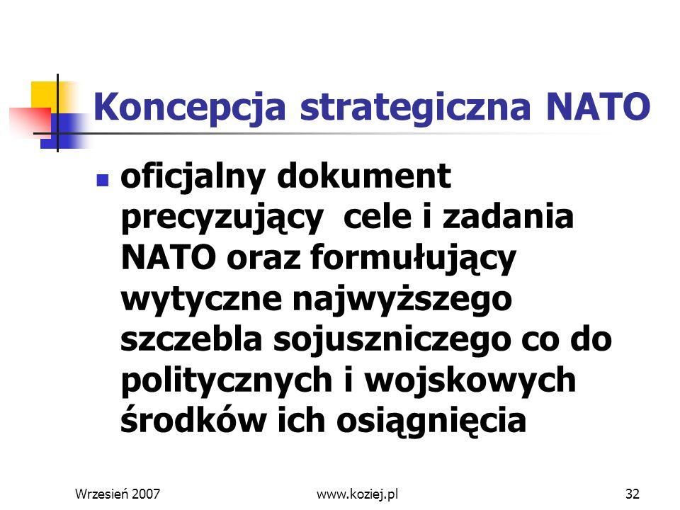 Wrzesień 200732 Koncepcja strategiczna NATO oficjalny dokument precyzujący cele i zadania NATO oraz formułujący wytyczne najwyższego szczebla sojuszni