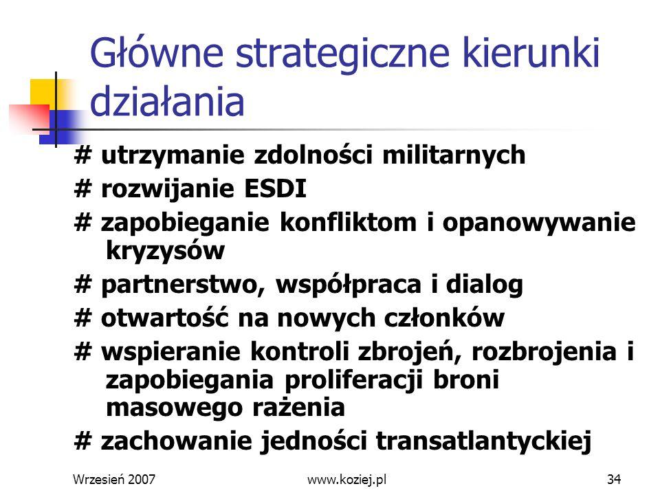 Wrzesień 200734 Główne strategiczne kierunki działania # utrzymanie zdolności militarnych # rozwijanie ESDI # zapobieganie konfliktom i opanowywanie k