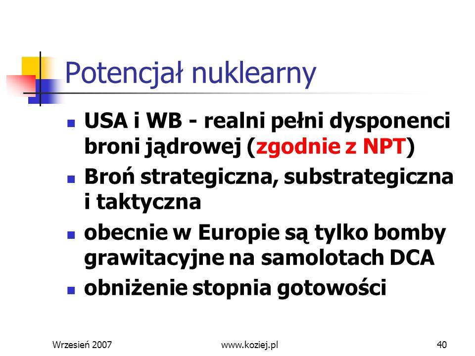 Wrzesień 200740 Potencjał nuklearny USA i WB - realni pełni dysponenci broni jądrowej (zgodnie z NPT) Broń strategiczna, substrategiczna i taktyczna o