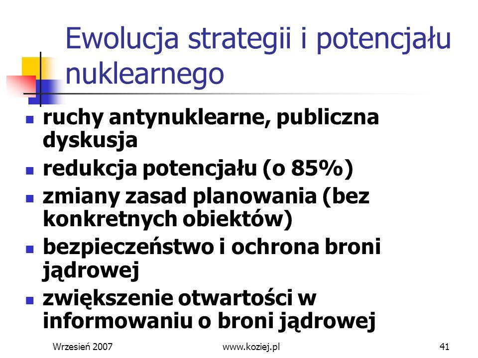 Wrzesień 200741 Ewolucja strategii i potencjału nuklearnego ruchy antynuklearne, publiczna dyskusja redukcja potencjału (o 85%) zmiany zasad planowani