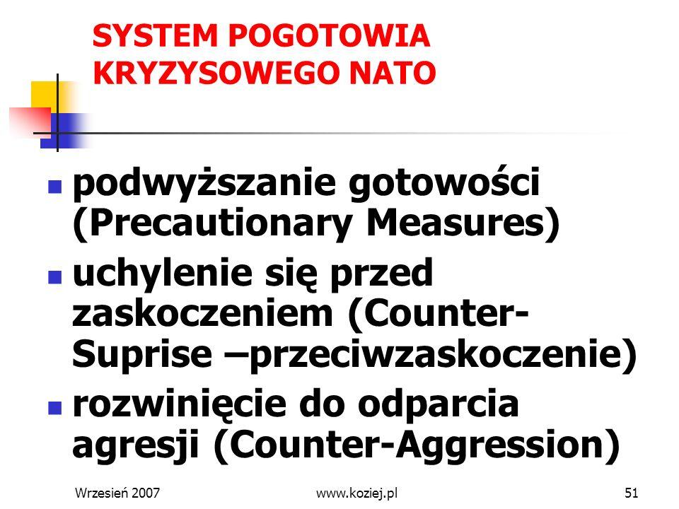 Wrzesień 200751 SYSTEM POGOTOWIA KRYZYSOWEGO NATO podwyższanie gotowości (Precautionary Measures) uchylenie się przed zaskoczeniem (Counter- Suprise –