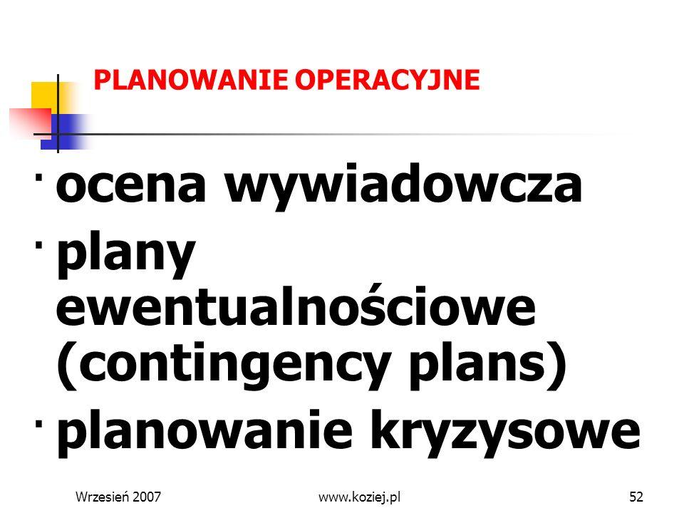 Wrzesień 200752 PLANOWANIE OPERACYJNE ocena wywiadowcza plany ewentualnościowe (contingency plans) planowanie kryzysowe PROCEDURY Stolice Kwatera Głów