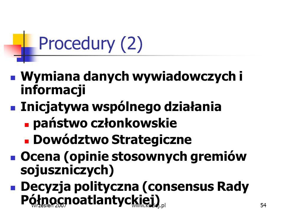 Wrzesień 200754 Procedury (2) Wymiana danych wywiadowczych i informacji Inicjatywa wspólnego działania państwo członkowskie Dowództwo Strategiczne Oce